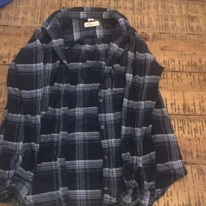 Hollister Stretch Blue Plaid Shirt Small